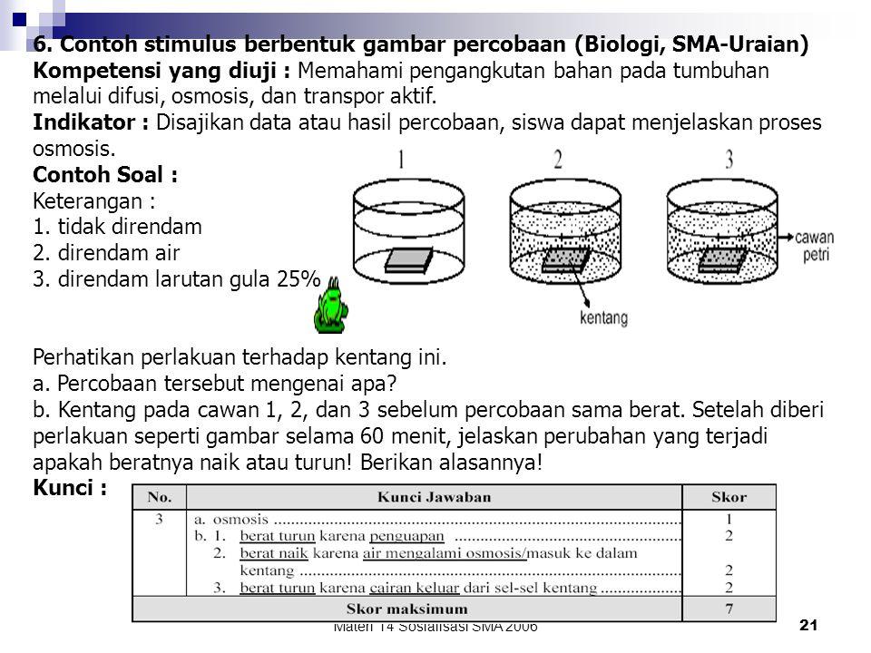 Materi 14 Sosialisasi SMA 200620 5. Contoh stimulus berbentuk gambar (Fisika, SMA-PG) Kompetensi yang diuji : Menerapkan konsep dinamika gerak lurus d
