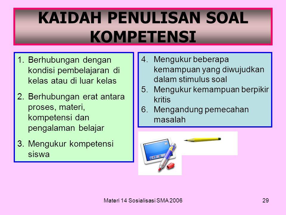 Materi 14 Sosialisasi SMA 200628 15. Menyelesaiakan secara terencana Contoh indikator soalnya: Disajikan sebuah situasi masalah yang kompleks, siswa d