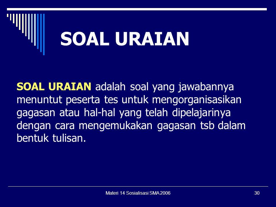 Materi 14 Sosialisasi SMA 200629 1.Berhubungan dengan kondisi pembelajaran di kelas atau di luar kelas 2.Berhubungan erat antara proses, materi, kompe