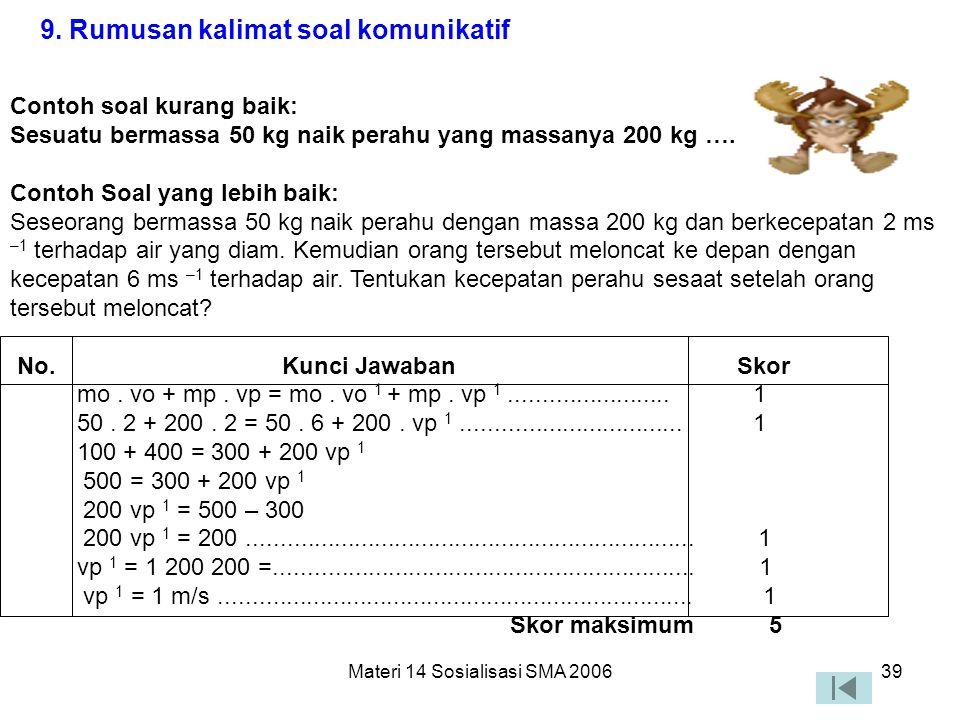 Materi 14 Sosialisasi SMA 200638 7. Ada pedoman penskorannya 8. Tabel, gambar, grafik, peta, atau yang sejenisnya disajikan dengan jelas dan terbaca P