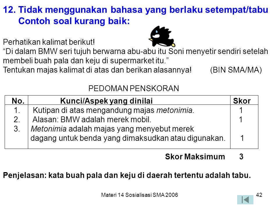 Materi 14 Sosialisasi SMA 200641 11. Tidak menggunakan kata/ungkapan yang menimbulkan penafsiran ganda atau salah pengertian Contoh soal kurang baik: