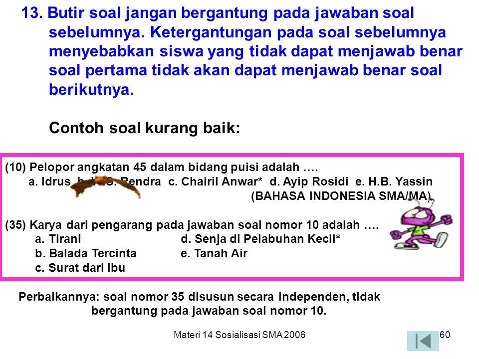 Materi 14 Sosialisasi SMA 200659 12. Rumusan pokok soal tidak menggunakan ungkapan atau kata yang bermakna tidak pasti seperti: sebaiknya, umumnya, ka