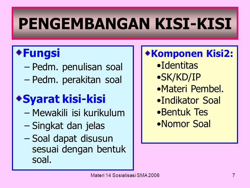 Materi 14 Sosialisasi SMA 20066 LANGKAH-LANGKAH PENYUSUNAN TES 1.Penentuan tujuan tes, 2.Penyusunan KISI-KISI tes,KISI-KISI 3.PENULISAN SOAL,PENULISAN