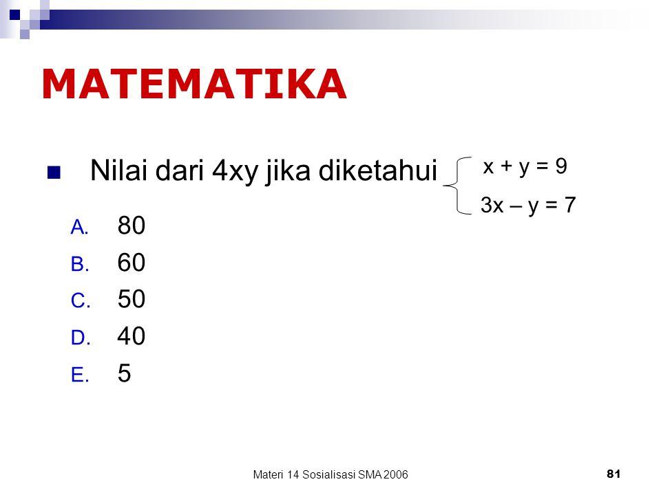 Materi 14 Sosialisasi SMA 200680 2/3 + 1/5 = … A. 10 B. 15 C. 20 D. 30 E. 13/15 Matematika