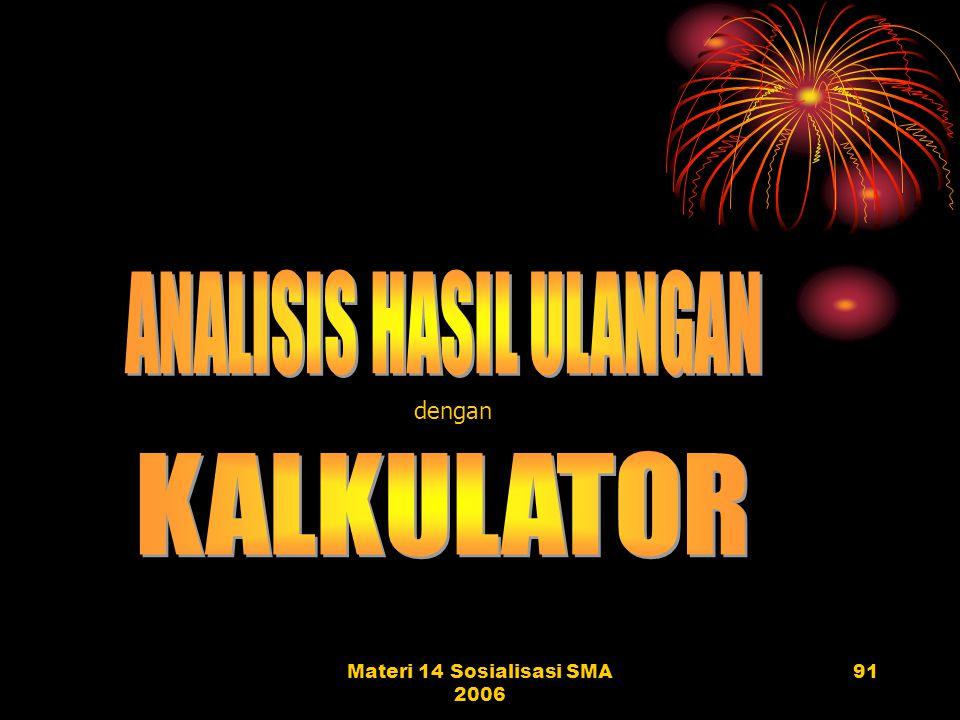 Materi 14 Sosialisasi SMA 200690 ANALISIS SOAL URAIAN DAN TES PRAKTIK NO. SISWA Soal 1 (Skor maks 6) Soal 2 (Skor maks 5) 1234512345 ABCDEABCDE 653326