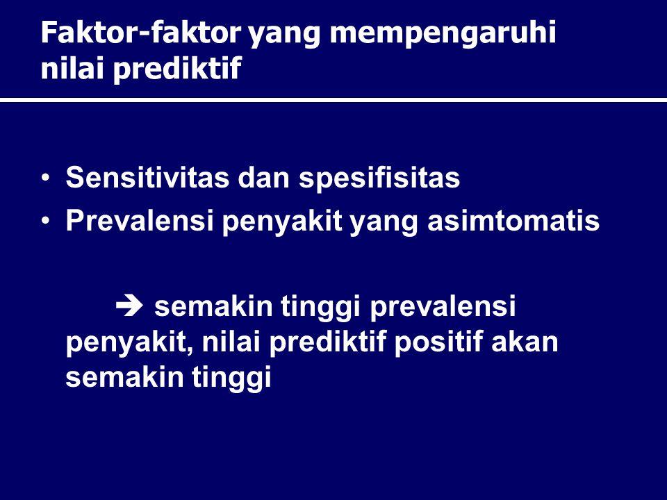 Faktor-faktor yang mempengaruhi nilai prediktif Sensitivitas dan spesifisitas Prevalensi penyakit yang asimtomatis  semakin tinggi prevalensi penyaki