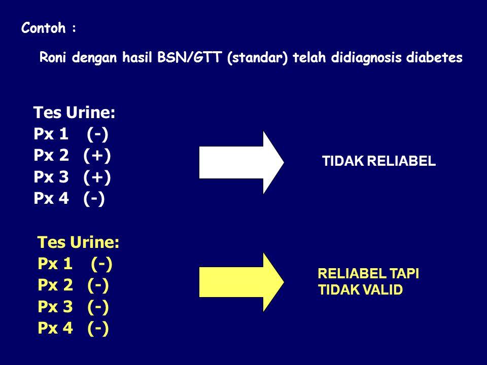 Contoh : Roni dengan hasil BSN/GTT (standar) telah didiagnosis diabetes TIDAK RELIABEL RELIABEL TAPI TIDAK VALID Tes Urine: Px 1 (-) Px 2 (+) Px 3 (+)