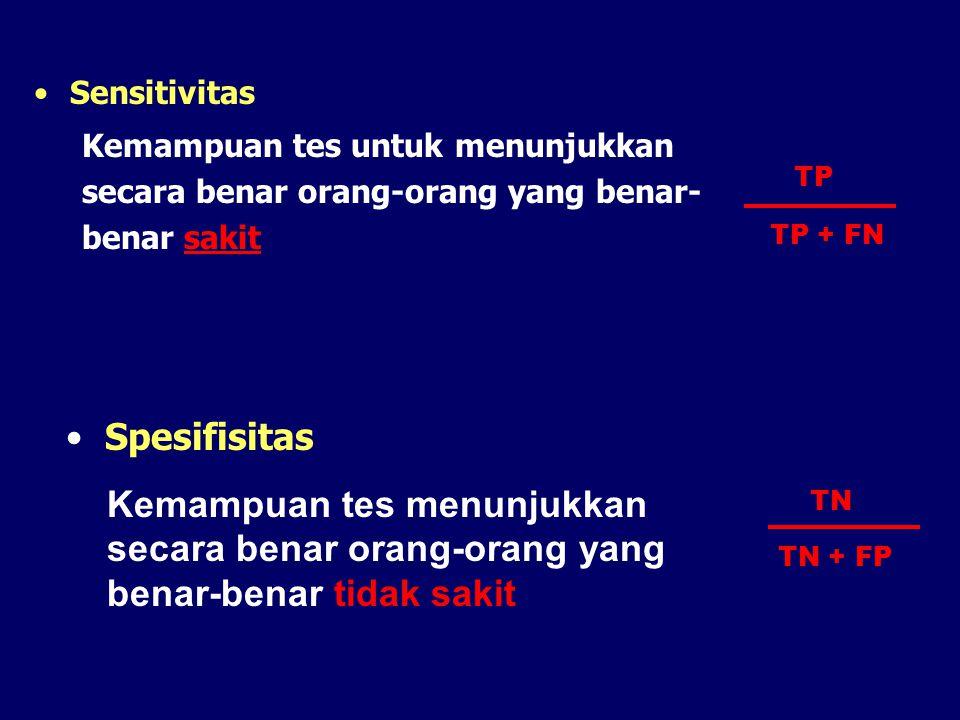 Sensitivitas Kemampuan tes untuk menunjukkan secara benar orang-orang yang benar- benar sakit Spesifisitas Kemampuan tes menunjukkan secara benar oran
