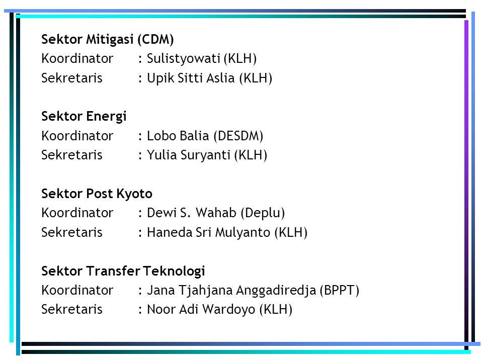 Sektor Mitigasi (CDM) Koordinator : Sulistyowati (KLH) Sekretaris : Upik Sitti Aslia (KLH) Sektor Energi Koordinator : Lobo Balia (DESDM) Sekretaris :