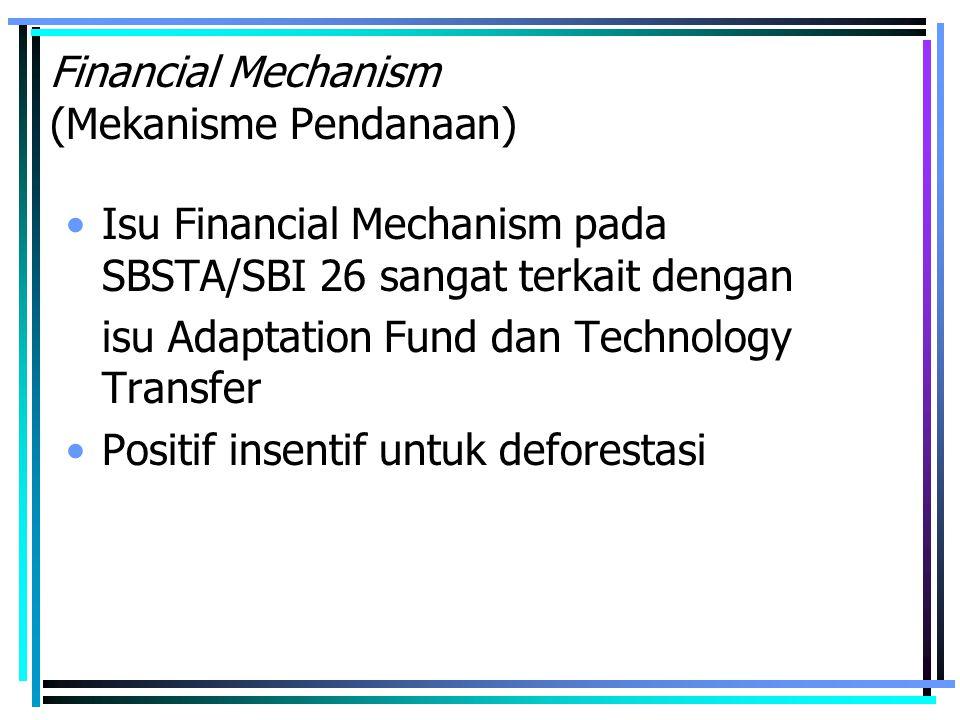 Financial Mechanism (Mekanisme Pendanaan) Isu Financial Mechanism pada SBSTA/SBI 26 sangat terkait dengan isu Adaptation Fund dan Technology Transfer