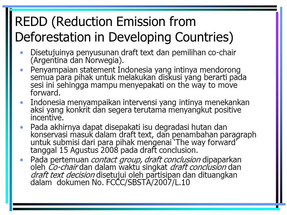 REDD (Reduction Emission from Deforestation in Developing Countries) Disetujuinya penyusunan draft text dan pemilihan co-chair (Argentina dan Norwegia).