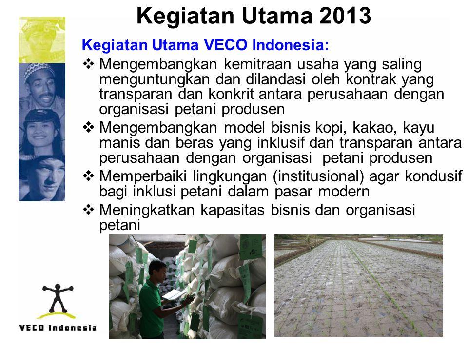 Kegiatan Utama 2013 Kegiatan Utama VECO Indonesia:  Mengembangkan kemitraan usaha yang saling menguntungkan dan dilandasi oleh kontrak yang transpara