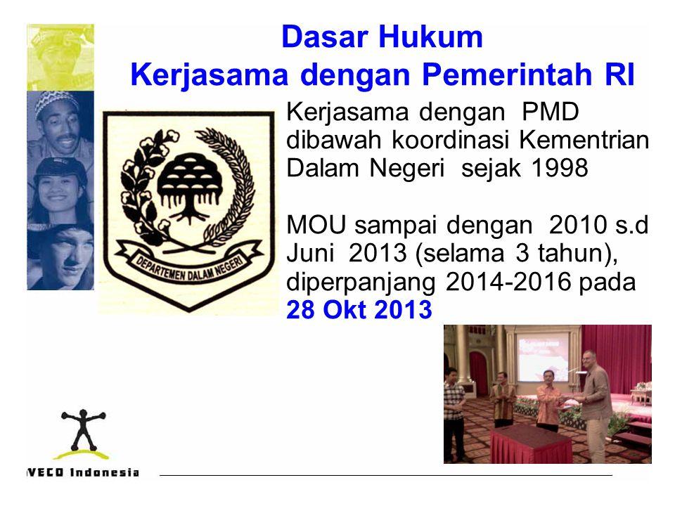 Dasar Hukum Kerjasama dengan Pemerintah RI Kerjasama dengan PMD dibawah koordinasi Kementrian Dalam Negeri sejak 1998 MOU sampai dengan 2010 s.d Juni