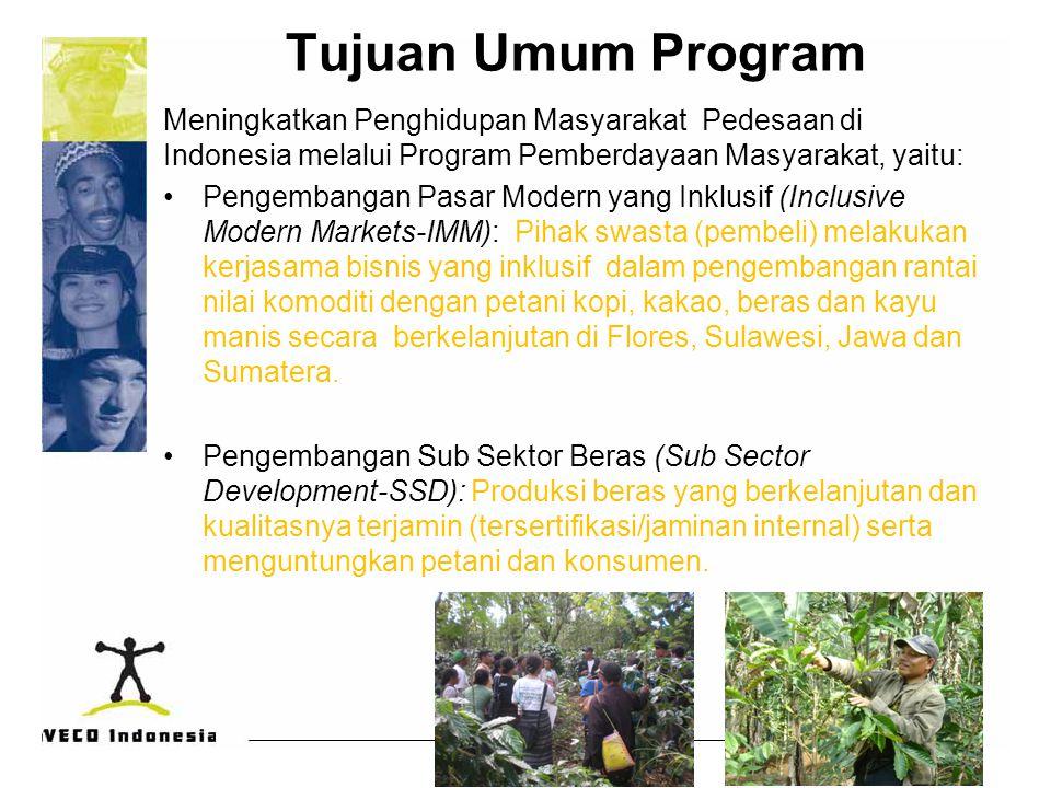Tujuan Umum Program Meningkatkan Penghidupan Masyarakat Pedesaan di Indonesia melalui Program Pemberdayaan Masyarakat, yaitu: Pengembangan Pasar Moder