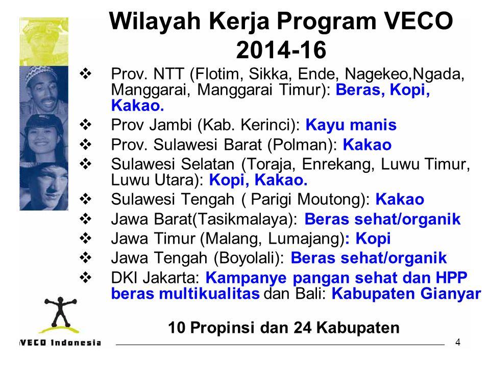 4 Wilayah Kerja Program VECO 2014-16  Prov. NTT (Flotim, Sikka, Ende, Nagekeo,Ngada, Manggarai, Manggarai Timur): Beras, Kopi, Kakao.  Prov Jambi (K