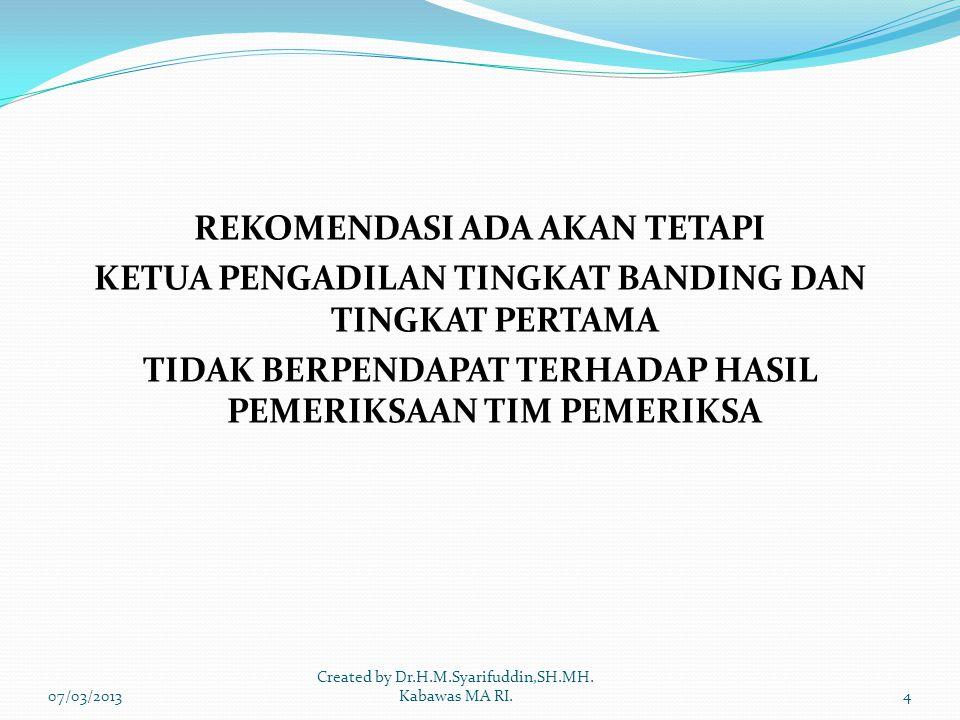 REKOMENDASI ADA AKAN TETAPI KETUA PENGADILAN TINGKAT BANDING DAN TINGKAT PERTAMA TIDAK BERPENDAPAT TERHADAP HASIL PEMERIKSAAN TIM PEMERIKSA 07/03/20134 Created by Dr.H.M.Syarifuddin,SH.MH.