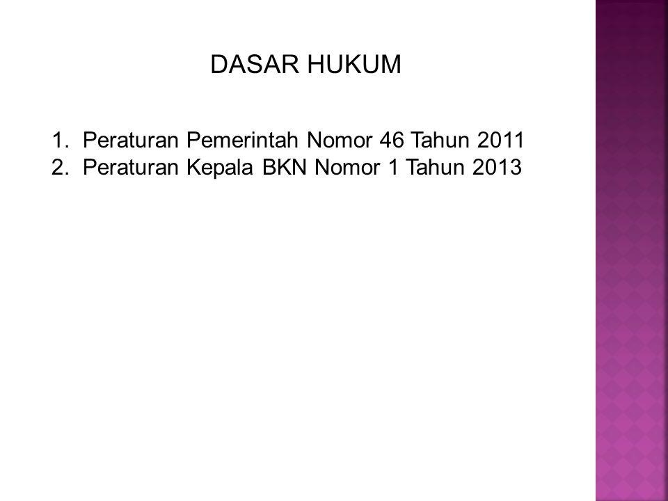 DASAR HUKUM 1. Peraturan Pemerintah Nomor 46 Tahun 2011 2. Peraturan Kepala BKN Nomor 1 Tahun 2013