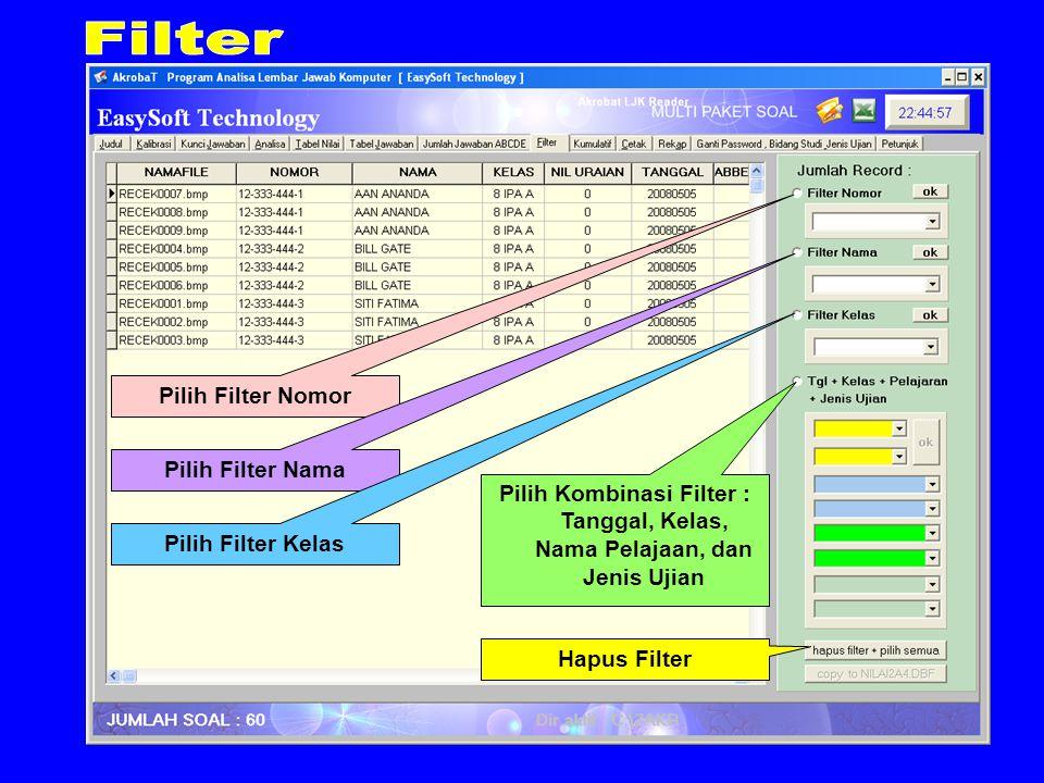 Pilih Filter Nomor Pilih Filter Nama Pilih Filter Kelas Pilih Kombinasi Filter : Tanggal, Kelas, Nama Pelajaan, dan Jenis Ujian Hapus Filter
