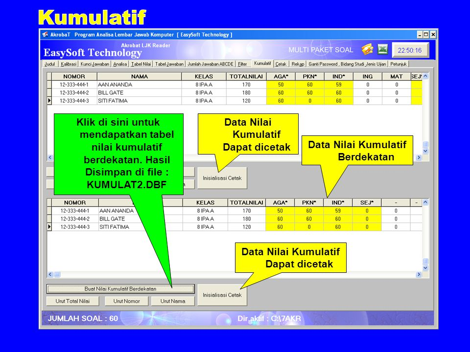 Klik di sini untuk mendapatkan tabel nilai kumulatif berdekatan.