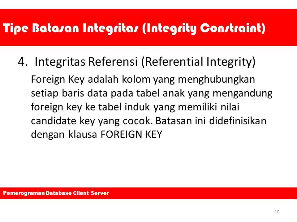 Tipe Batasan Integritas (Integrity Constraint) 4.Integritas Referensi (Referential Integrity) Foreign Key adalah kolom yang menghubungkan setiap baris data pada tabel anak yang mengandung foreign key ke tabel induk yang memiliki nilai candidate key yang cocok.
