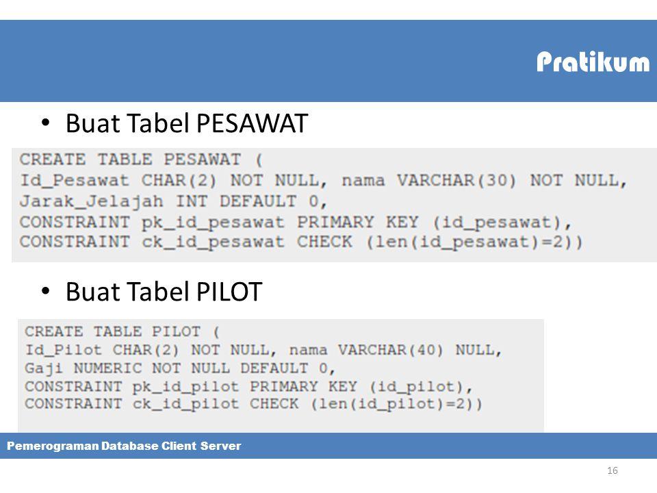 Pratikum Buat Tabel PESAWAT Buat Tabel PILOT Pemerograman Database Client Server 16