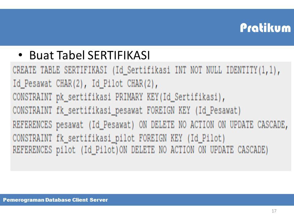 Pratikum Buat Tabel SERTIFIKASI Pemerograman Database Client Server 17