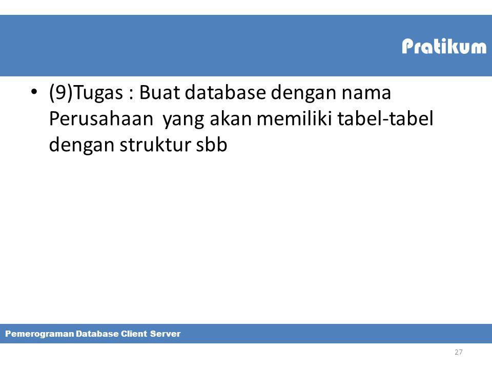Pratikum (9)Tugas : Buat database dengan nama Perusahaan yang akan memiliki tabel-tabel dengan struktur sbb Pemerograman Database Client Server 27