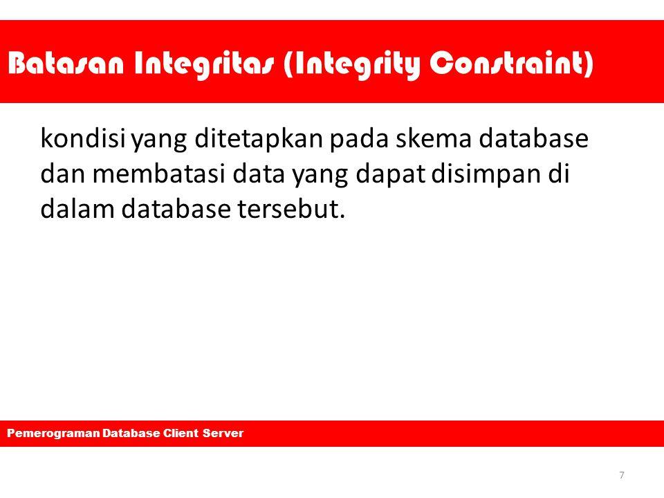 Batasan Integritas (Integrity Constraint) kondisi yang ditetapkan pada skema database dan membatasi data yang dapat disimpan di dalam database tersebu