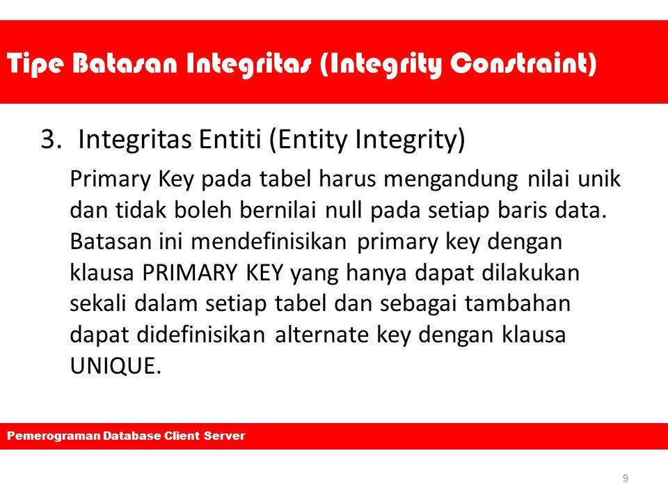 Tipe Batasan Integritas (Integrity Constraint) 3.Integritas Entiti (Entity Integrity) Primary Key pada tabel harus mengandung nilai unik dan tidak bol