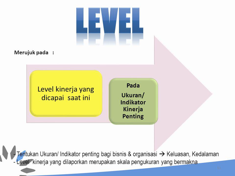 11 Level kinerja yang dicapai saat ini Merujuk pada : - Tentukan Ukuran/ Indikator penting bagi bisnis & organisasi  Keluasan, Kedalaman - Level kinerja yang dilaporkan merupakan skala pengukuran yang bermakna Pada Ukuran/ Indikator Kinerja Penting
