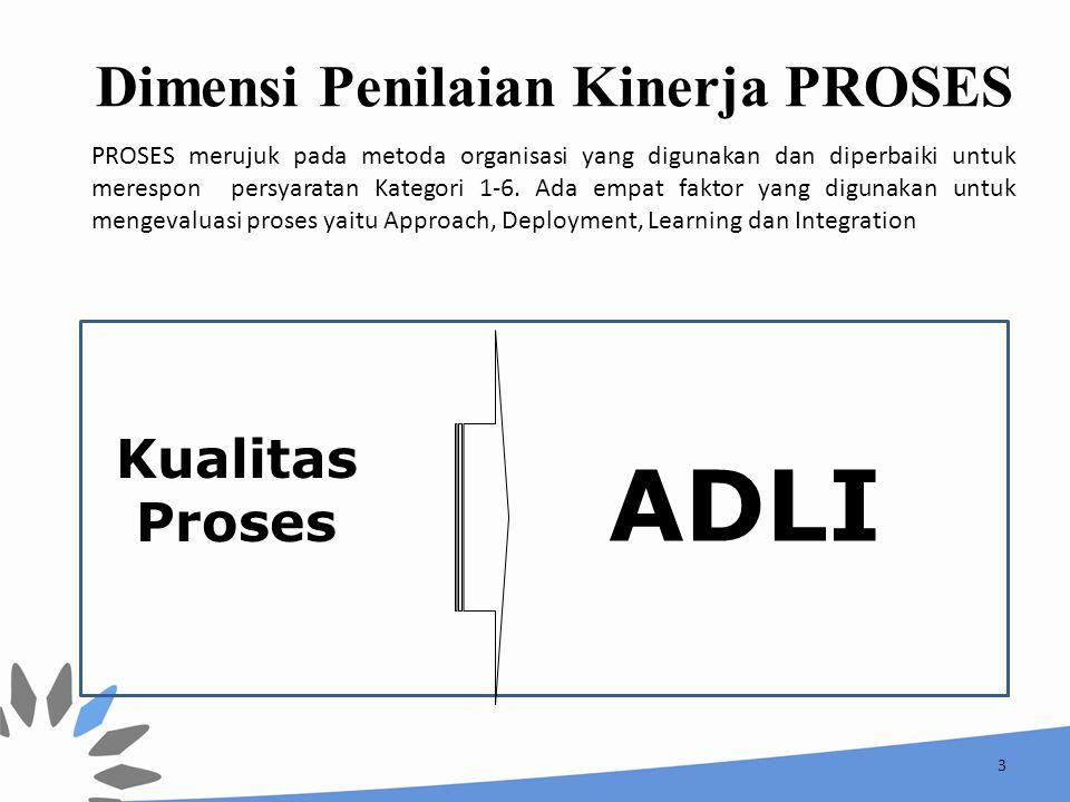 3 ADLI Dimensi Penilaian Kinerja PROSES Kualitas Proses PROSES merujuk pada metoda organisasi yang digunakan dan diperbaiki untuk merespon persyaratan Kategori 1-6.