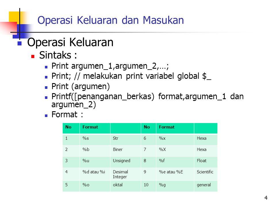 Operasi Keluaran dan Masukan Operasi Keluaran Sintaks : Print argumen_1,argumen_2,…; Print; // melakukan print variabel global $_ Print (argumen) Prin