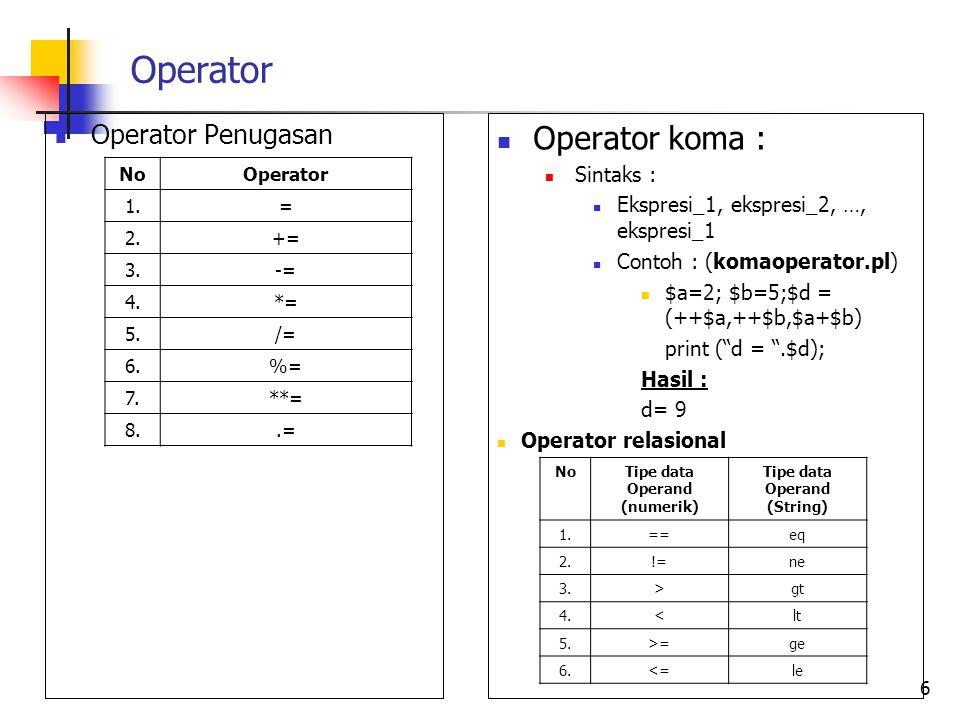 Operator Operator Penugasan 6 NoOperator 1.= 2.+= 3.-= 4.*= 5./= 6.%= 7.**= 8..= Operator koma : Sintaks : Ekspresi_1, ekspresi_2, …, ekspresi_1 Conto