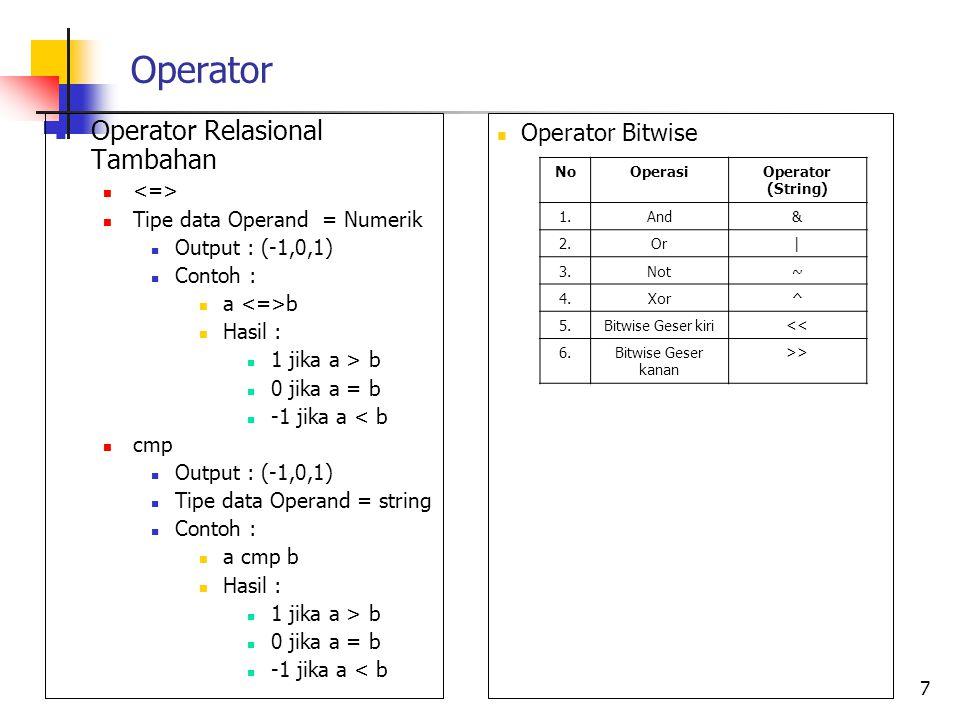 Operator Operator Relasional Tambahan Tipe data Operand = Numerik Output : (-1,0,1) Contoh : a b Hasil : 1 jika a > b 0 jika a = b -1 jika a < b cmp O