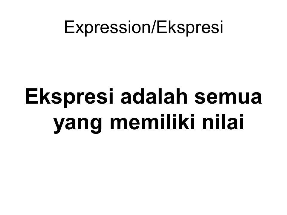 Expression/Ekspresi Ekspresi adalah semua yang memiliki nilai