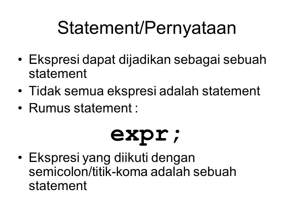 Statement/Pernyataan Ekspresi dapat dijadikan sebagai sebuah statement Tidak semua ekspresi adalah statement Rumus statement : expr; Ekspresi yang dii