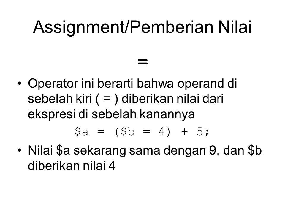 Assignment/Pemberian Nilai = Operator ini berarti bahwa operand di sebelah kiri ( = ) diberikan nilai dari ekspresi di sebelah kanannya $a = ($b = 4)