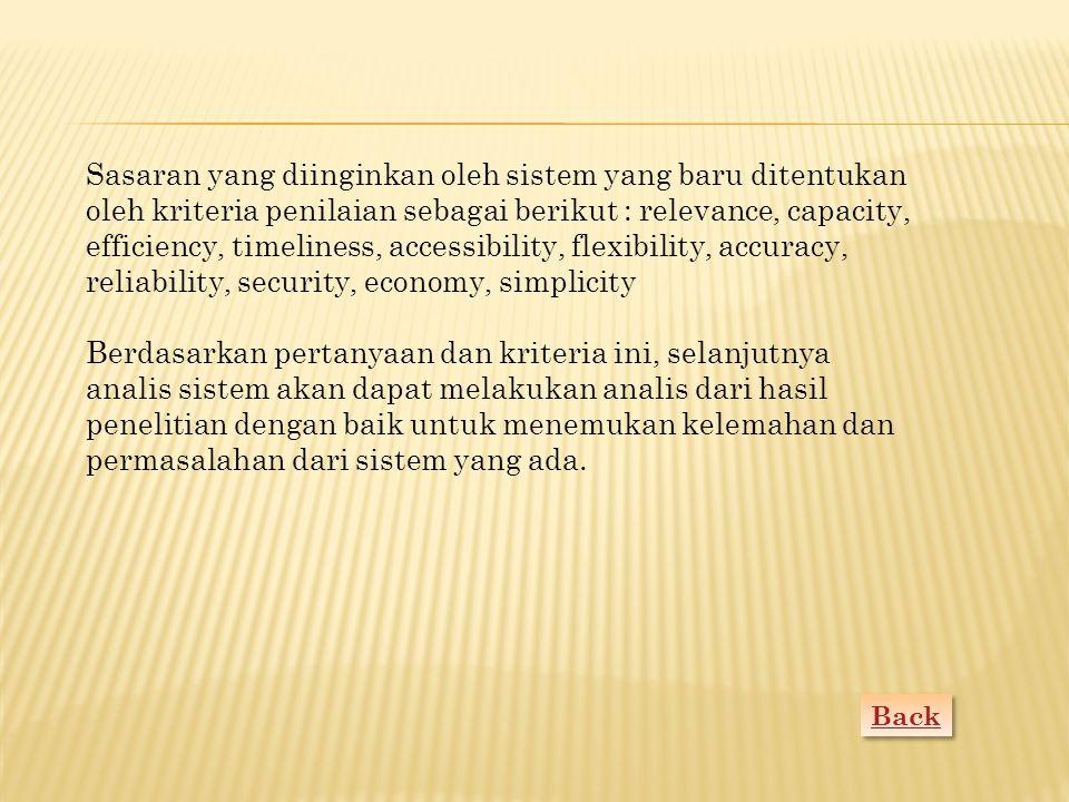 Back Sasaran yang diinginkan oleh sistem yang baru ditentukan oleh kriteria penilaian sebagai berikut : relevance, capacity, efficiency, timeliness, a