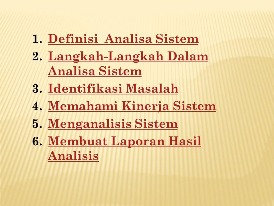 1.Definisi Analisa SistemDefinisi Analisa Sistem 2.Langkah-Langkah Dalam Analisa SistemLangkah-Langkah Dalam Analisa Sistem 3.Identifikasi MasalahIden