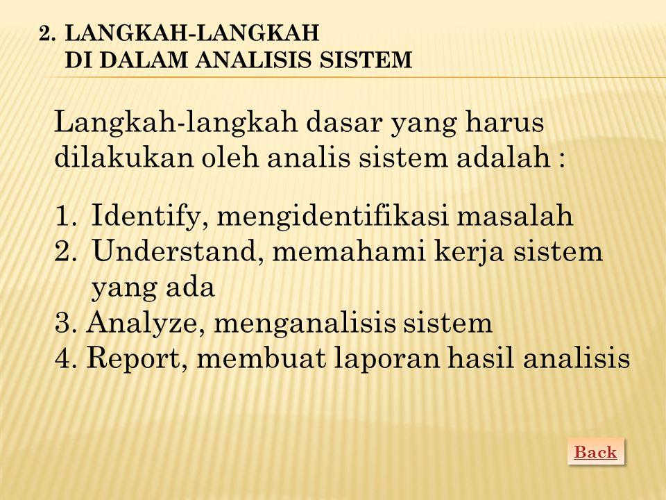 Mengidentifikasi (mengenal) masalah merupakan langkah pertama yang dilakukan dalam tahap analisis sistem.