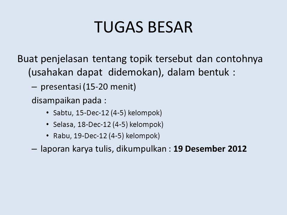 TUGAS BESAR Buat penjelasan tentang topik tersebut dan contohnya (usahakan dapat didemokan), dalam bentuk : – presentasi (15-20 menit) disampaikan pada : Sabtu, 15-Dec-12 (4-5) kelompok) Selasa, 18-Dec-12 (4-5) kelompok) Rabu, 19-Dec-12 (4-5) kelompok) – laporan karya tulis, dikumpulkan : 19 Desember 2012