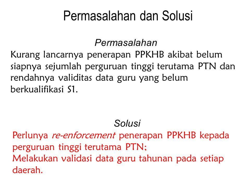 Permasalahan dan Solusi Permasalahan Kurang lancarnya penerapan PPKHB akibat belum siapnya sejumlah perguruan tinggi terutama PTN dan rendahnya validitas data guru yang belum berkualifikasi S1.