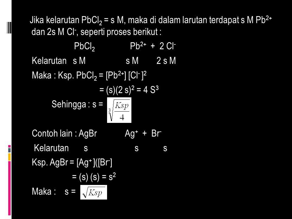 Jika kelarutan PbCl 2 = s M, maka di dalam larutan terdapat s M Pb 2+ dan 2s M Cl -, seperti proses berikut : PbCl 2 Pb 2+ + 2 Cl - Kelarutan s M s M