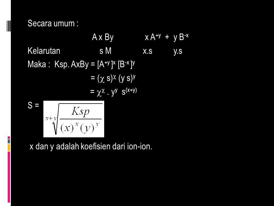 Secara umum : A x By x A +y + y B -x Kelarutan s M x.s y.s Maka : Ksp. AxBy = [A +y ] x [B -x ] y = (  s)  (y s) y =  . y y s (x+y) S = x dan y ad