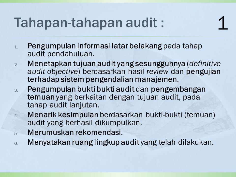 Tahapan-tahapan audit : 1.Pengumpulan informasi latar belakang pada tahap audit pendahuluan.