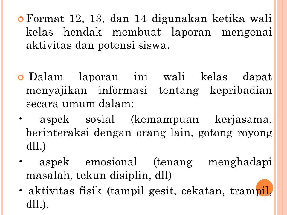 Format 12, 13, dan 14 digunakan ketika wali kelas hendak membuat laporan mengenai aktivitas dan potensi siswa. Dalam laporan ini wali kelas dapat meny