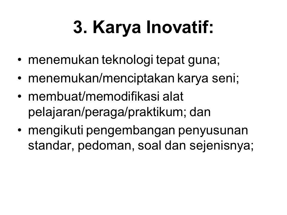 3. Karya Inovatif: menemukan teknologi tepat guna; menemukan/menciptakan karya seni; membuat/memodifikasi alat pelajaran/peraga/praktikum; dan mengiku