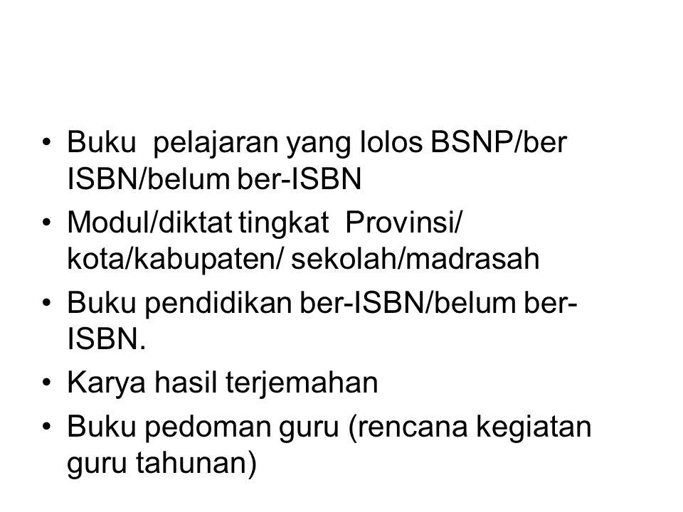 Buku pelajaran yang lolos BSNP/ber ISBN/belum ber-ISBN Modul/diktat tingkat Provinsi/ kota/kabupaten/ sekolah/madrasah Buku pendidikan ber-ISBN/belum ber- ISBN.