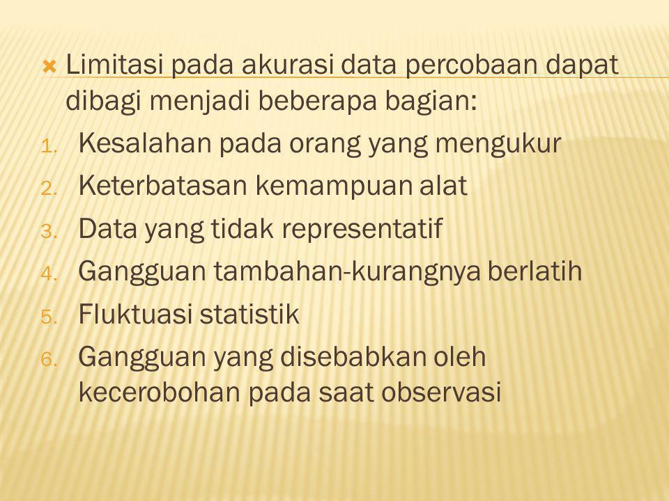  Limitasi pada akurasi data percobaan dapat dibagi menjadi beberapa bagian: 1.