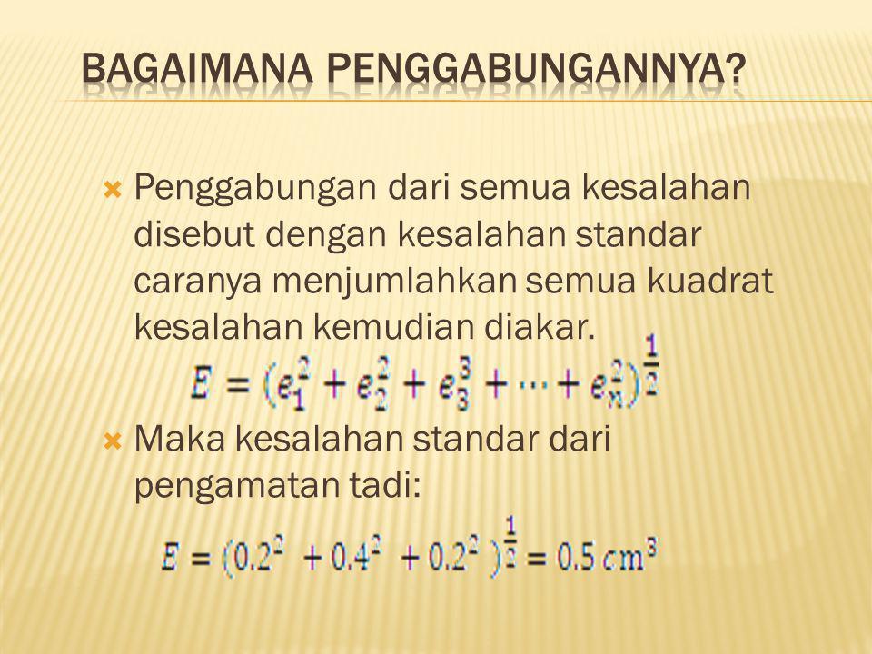  Penggabungan kesalahan-kesalahan yang ada tidak dapat dilakukan secara langsung dengan menambahkan nilainya karena kesalahan2 tersebut independen, s